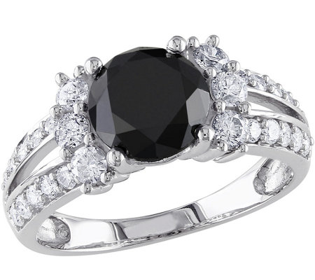 Round Black Diamond Ring, 14K, 2.65 cttw, by Affinity