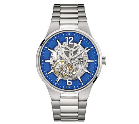 Caravelle New York Men's Automatic Watch, BlueTranparent Dial