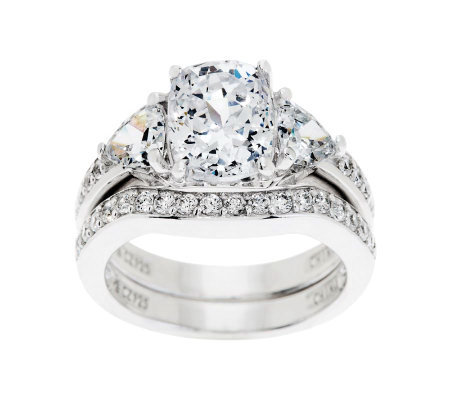 diamonique 295 cttw 100 facet bridal ring setplatinum clad j344743 - Qvc Wedding Rings