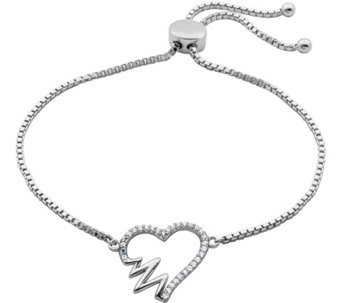 Diamonique Adjustable Bracelet with Heartbeat Motif, Sterling - J345743
