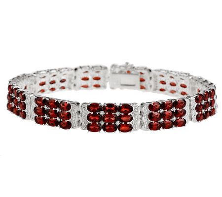 """As Is"" 18.50 cttw Mozambique Garnet 3-Row Sterling 7-1/4"" Bracelet"