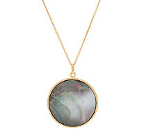 "Honora Black Mother-of-Pearl Pendant w/ 30"" Chain, Sterling - J348543"