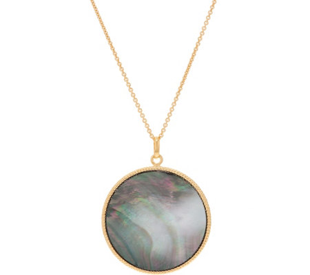 "Honora Black Mother-of-Pearl Pendant w/ 30"" Chain, Sterling"