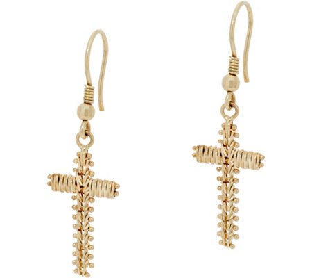 Imperial Gold Wheat Cross Earrings 14K Gold