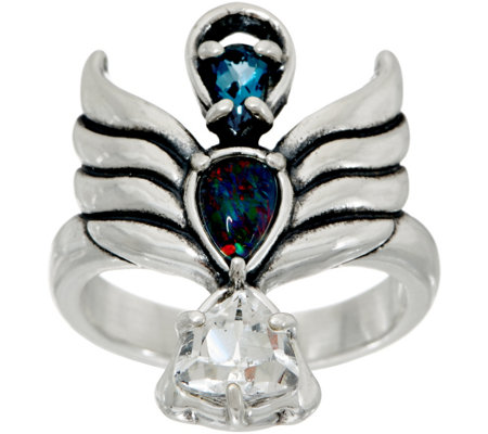 Carolyn Pollack Opal Triplet & Topaz Sterling Angel Ring