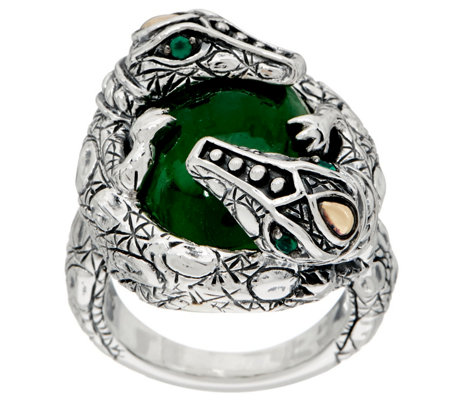 JAI Sterling Croco Wrapped Jade Cabochon Ring