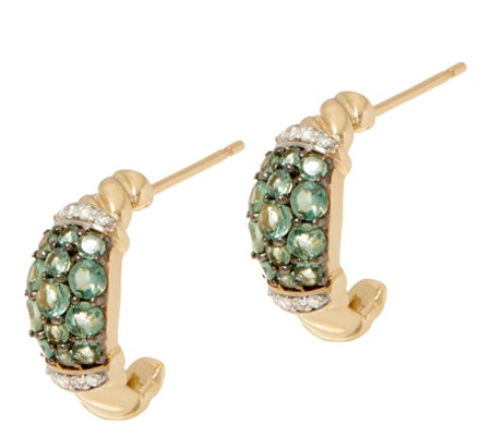 Alexandrite and Diamond Huggie Earrings, 14K, 0.80 cttw