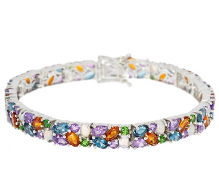 Colorful Mixed Gemstone Line Bracelet, Sterling Silver