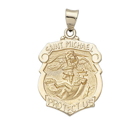 14K Yellow Gold Badge Shape Saint MichaelMedal