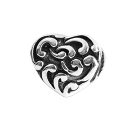 Prerogatives Sterling Scroll Heart Bead