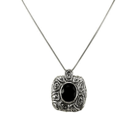 Or Paz Sterling Onyx and Scroll Design Necklace