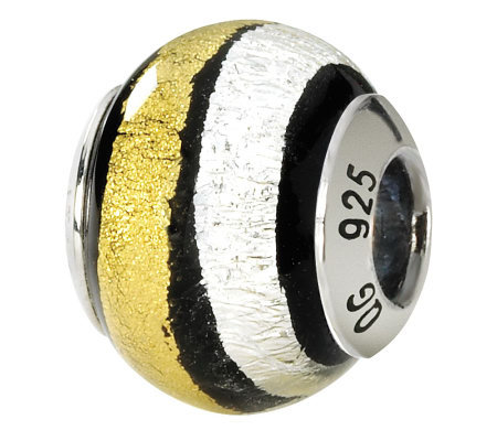 Prerogatives Sterling White & Gold Italian Murano Glass Bead