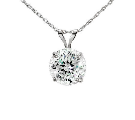 Diamonique 100 Facet 2 ct tw Pendant w/Chain, 1 4K Gold