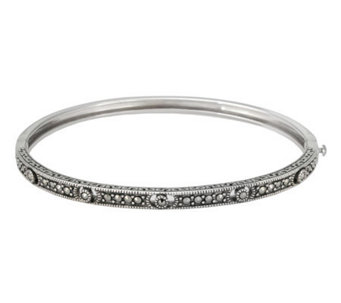 Suspicion Sterling Marcasite Hinged Openwork Bangle - J112444