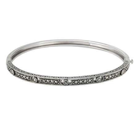 Suspicion Sterling Marcasite Hinged Openwork Bangle