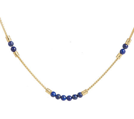 Jacqueline Kennedy Simulated Lapis Bead Long Necklace