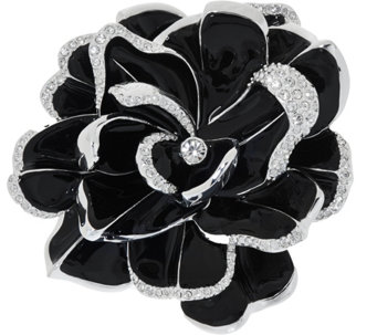 Joan Rivers Limited Edition Black Pave' Gardenia Pin - J274744