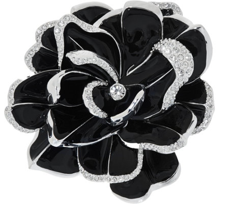 Joan Rivers Limited Edition Black Pave' Gardenia Pin