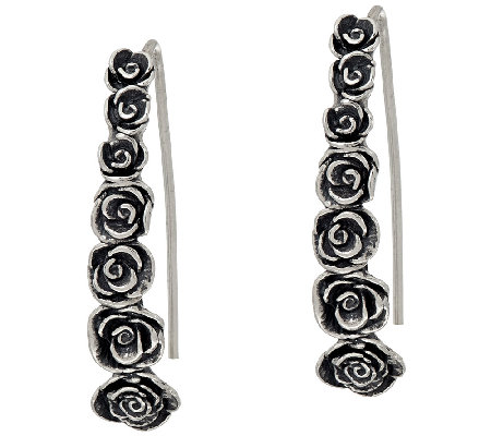 Sterling Silver Elongated Rose Earrings by Or Paz