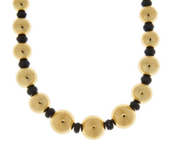 "Oro Nuovo 18"" 45.00 ct tw Black Spinel & Graduated Bead Necklace, 14K - J281444"