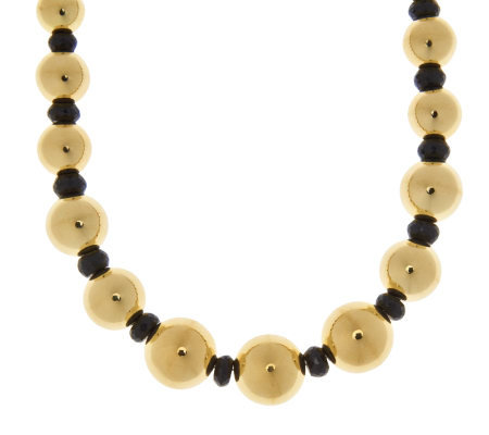 "Oro Nuovo 18"" 45.00 ct tw Black Spinel & Graduated Bead Necklace, 14K"