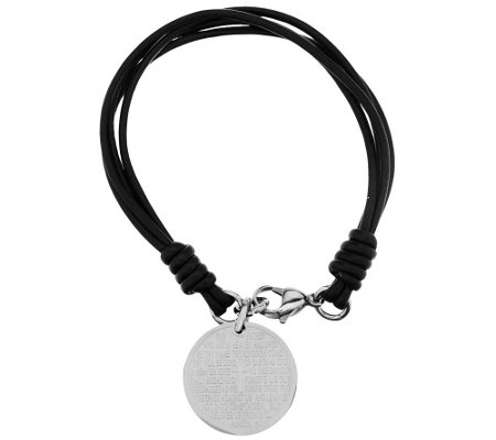 Stainless Steel 'Our Father' Prayer Leather Bracelet
