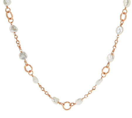 "Honora Cultured Pearl 9.0mm Keshi Textured Link 18"" Bronze Necklace"