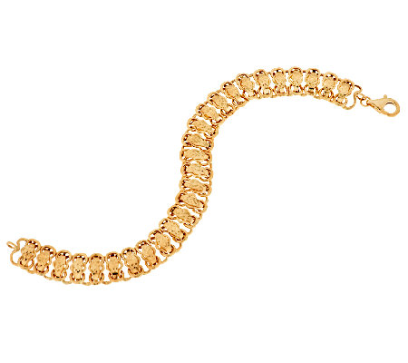 "14K Gold 6-3/4"" Diamond Cut Woven Domed Bracelet, 4.8g"