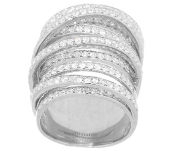 VicenzaSilver Sterling Bold Crystal Crossover Design Ring - J289444