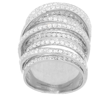 VicenzaSilver Sterling Bold Crystal Crossover Design Ring