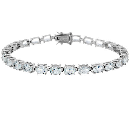 "8.00 ct tw Aquamarine 7-3/4"" Oval Sterling Tennis Bracelet"