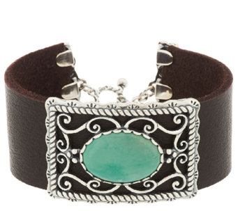 American West Sterling Oval Green Turquoise Leather Toggle Bracelet - J294844