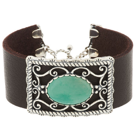 American West Sterling Oval Green Turquoise Leather Toggle Bracelet