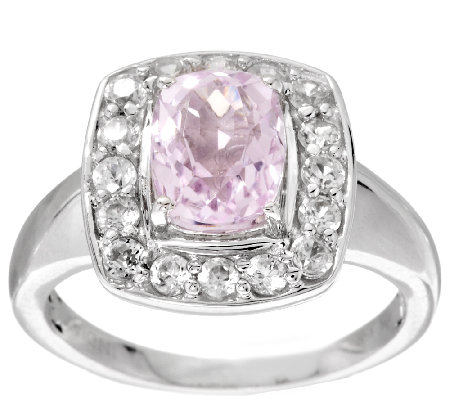 2.20 ct tw Cushion Cut Kunzite & White Zircon Sterling Ring