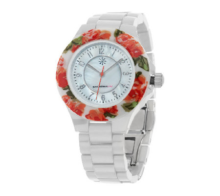 """As Is"" Isaac Mizrahi Live! Ceramic Watch with Floral Printed Bezel"