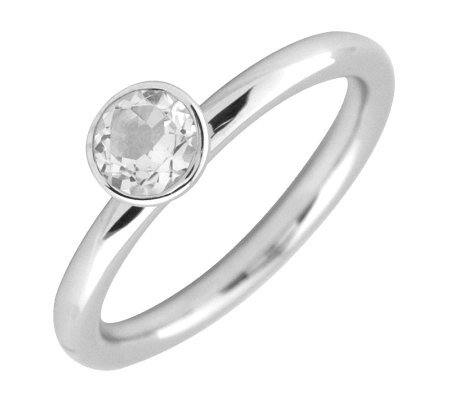 Simply Stacks Sterling 5mm Round White Topaz Solitaire Ring