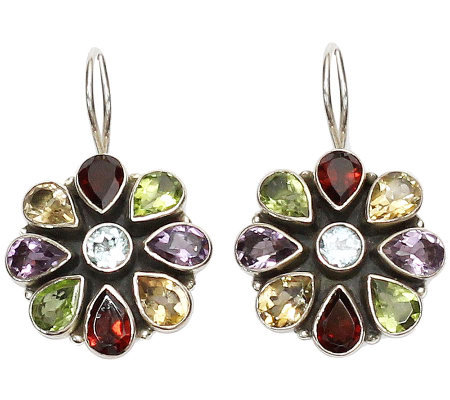 "Novica Artisan Crafted Sterling ""India Blossoms"" Gem Earrings"