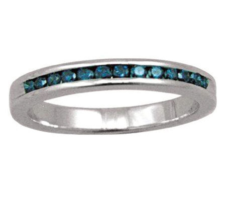 Blue Diamond Band Ring, Sterling, 1/4 cttw, byAffinity
