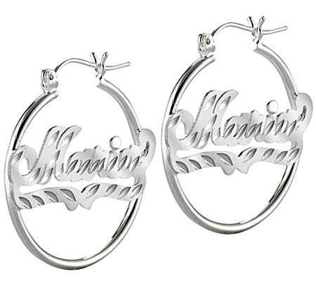 Sterling Silver Diamond-Cut Hoop Name Earrings