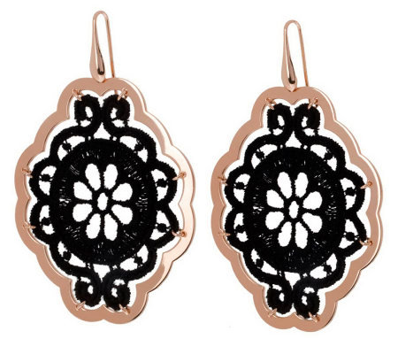 Bronzo Italia Floral Macrame Dangle Earrings