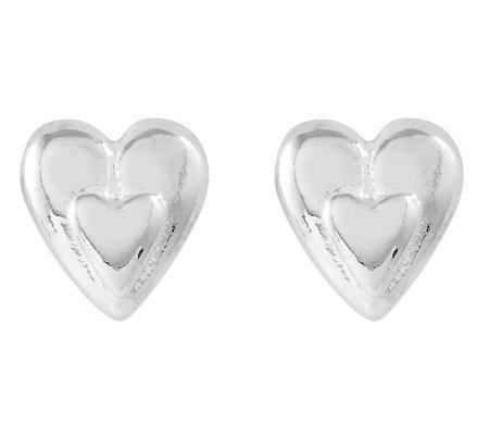 Sterling Polished Petite Heart Stud Earrings
