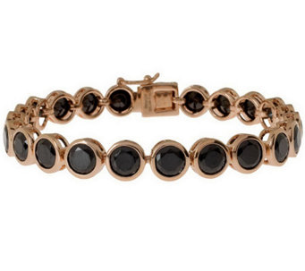 "Bronzo Italia 7-1/4"" Faceted Crystal Tennis Bracelet - J314744"