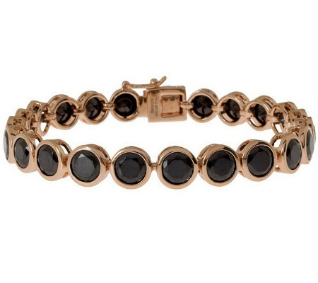 "Bronzo Italia 7-1/4"" Faceted Crystal Tennis Bracelet"