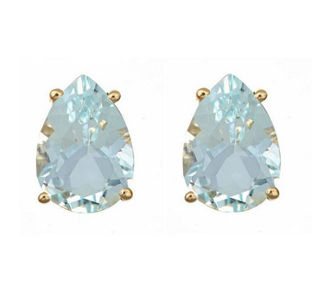 Pear Shaped 2.50 cttw Aquamarine Stud E arrings, 14K