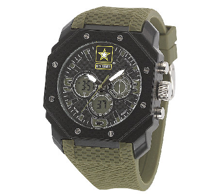 Wrist Armor Men's U.S. Army C28 Black, White &Green Watch