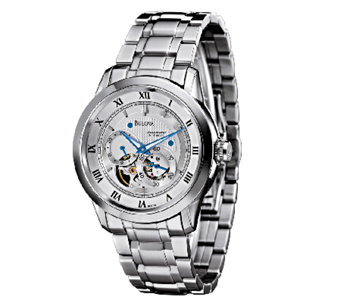 Bulova Men's Stainless Steel White Dial Automatic Watch - J316444