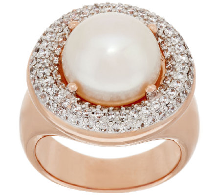 Honora Cultured Pearl 11.5mm Bronze Crystal Ring