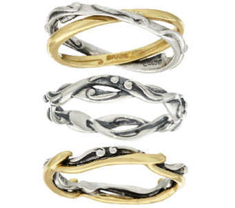 Carolyn Pollack Sterling Silver & Brass Set of Three Stack Rings - J319344
