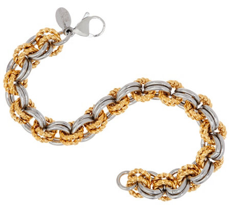 Stainless Steel Two-Tone Textured Link Bracelet