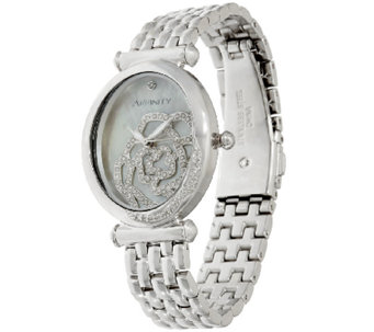 Rose Encrusted Diamond Watch, Stainless Steel 1/2 cttw by Affinity - J320144